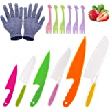 LEEFE 6 Pieces Kids Knife Set for Cooking, with Gloves and Plastic Forks, Safe Lettuce and Salad Knives, Kids Cooking Utensils in 6 Sizes & Colors, Serrated Edges, Plastic Safe Kitchen Knife