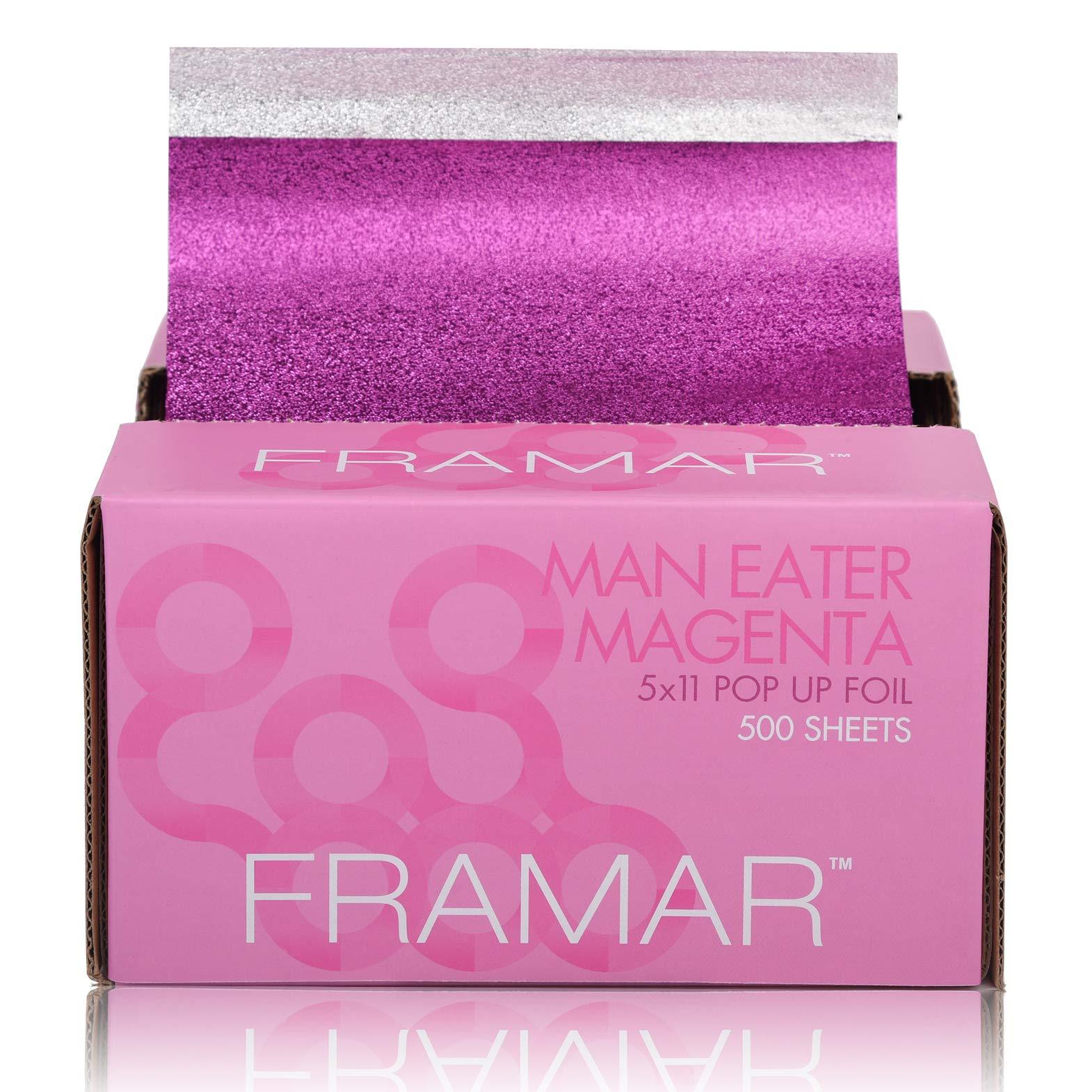 Framar Magenta Pop Up Hair Foil, Aluminum Foil Sheets, Hair Foils For Highlighting - 500 Foil Sheets by FRAMAR