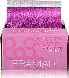 Framar Magenta Pop Up Hair Foil, Aluminum Foil Sheets, Hair Foils For Highlighting - 500 Foil Sheets