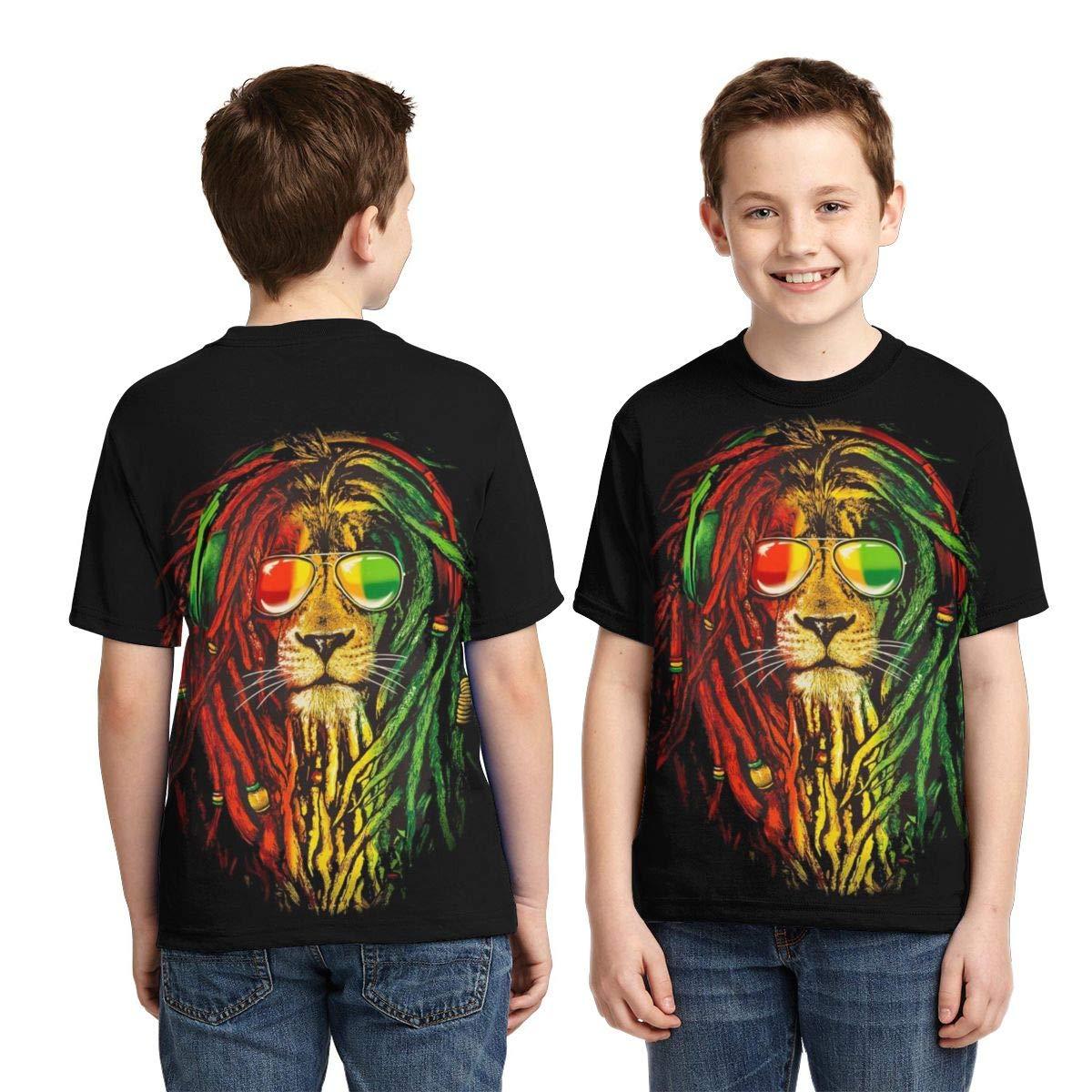 Traci StoneN Kid//Youth Rasta Lion T-Shirts 3D Print Short Sleeve Graphics Tees for Boys