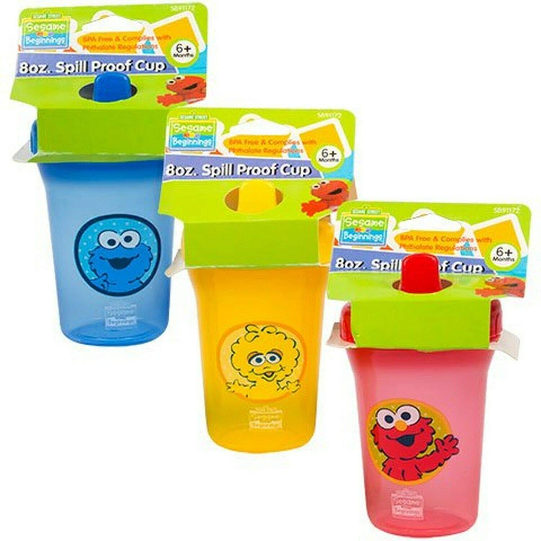 Sesame Street Sesame Beginnings 8oz. Spill Proof Cups - Big Bird, Cookie Monster and Elmo (3-Pack), Multicolored