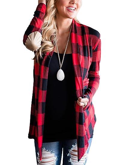 cc7cc07dcf Amazon.com  Minipeach Women s Casual Plaid Print Shirt Long Sleeve Elbow  Patches Draped Open Front Cardigan Coverup Coat Tops Outwear  Home   Kitchen