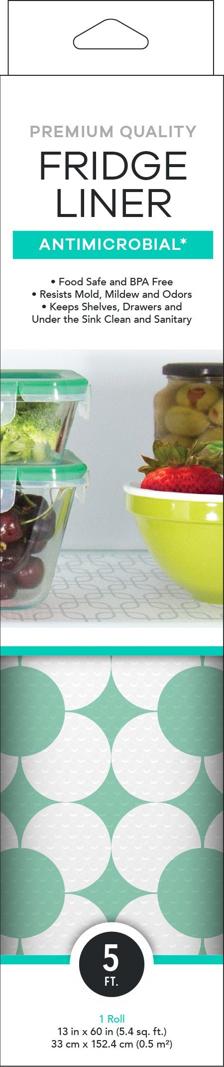Mindfull Products Cut To Fit Fridge Shelf Liner, Antimicrobial, 13'' x 60'', Teal Squares