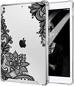 """TiMOVO Case for New iPad 8th Generation 2020 / iPad 7th Generation 10.2"""" 2019, Shockproof Reinforced Corners Soft TPU Bumper + Anti-Scratch Hard PC Transparent Clear Case - Black Lace Flowers"""