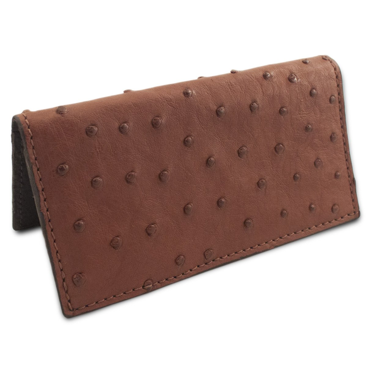 Handmade Brown Genuine Ostrich Skin Leather Checkbook Cover by Yoder Leather Company