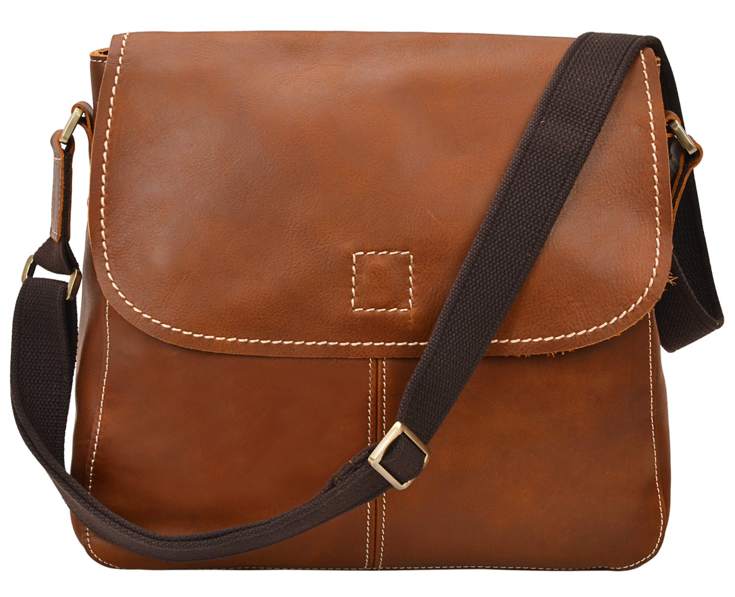 ALTOSY 15 Inch Genuine Leather Messenger Bag Satchel Bag for Office Work College School Business 8069 (light brown) by ALTOSY