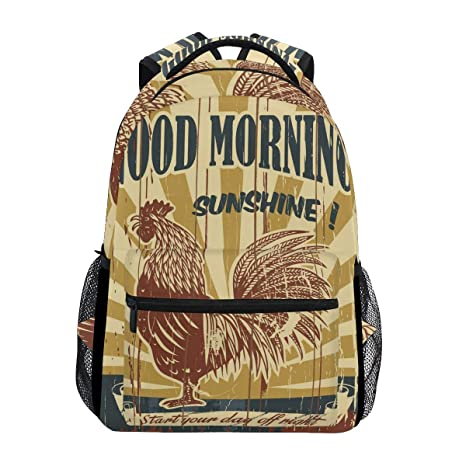 640a1d735d1a Amazon.com : Rooster Chickens Range Cock Backpack Waterproof School ...