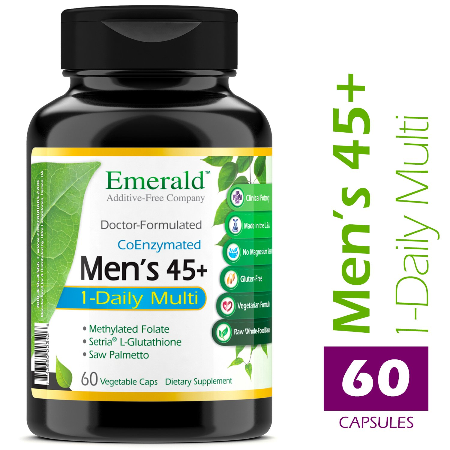 Men's 45+ 1-Daily Multi - Multivitamin with CoQ10, Saw Palmetto & Extra Lycopene - Supports Heart Health, Energy Boost, Immune System, Strong Bones - Emerald Laboratories - 60 Vegetable Capsules