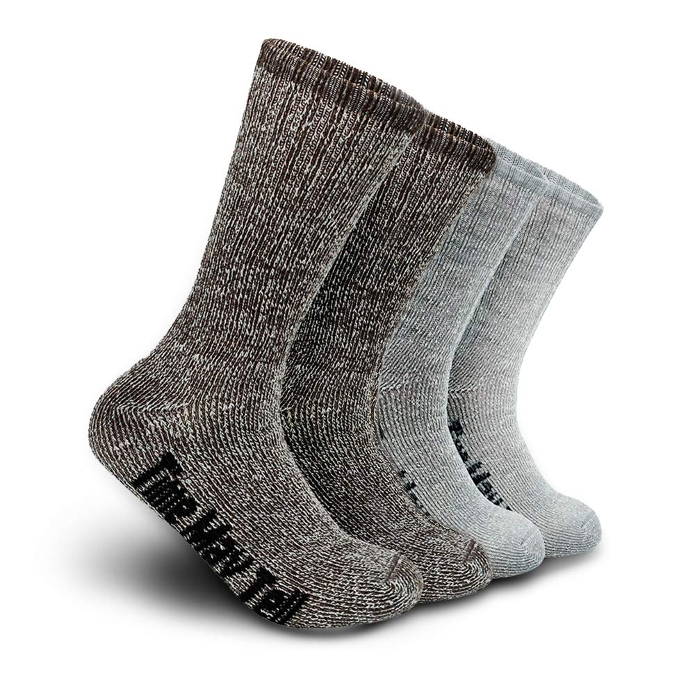 Time May Tell Mens Merino Wool Hiking Cushion Socks (Light Grey,Brown(2 pairs), US Size 5~9) by Time May Tell