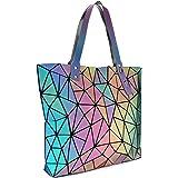 Tikea Bolsa Geométrica Luminosa Holográfica para Mujer, Bolso de Mano en Cuero Sintético de Moda, Bolsa Shopper Efecto…