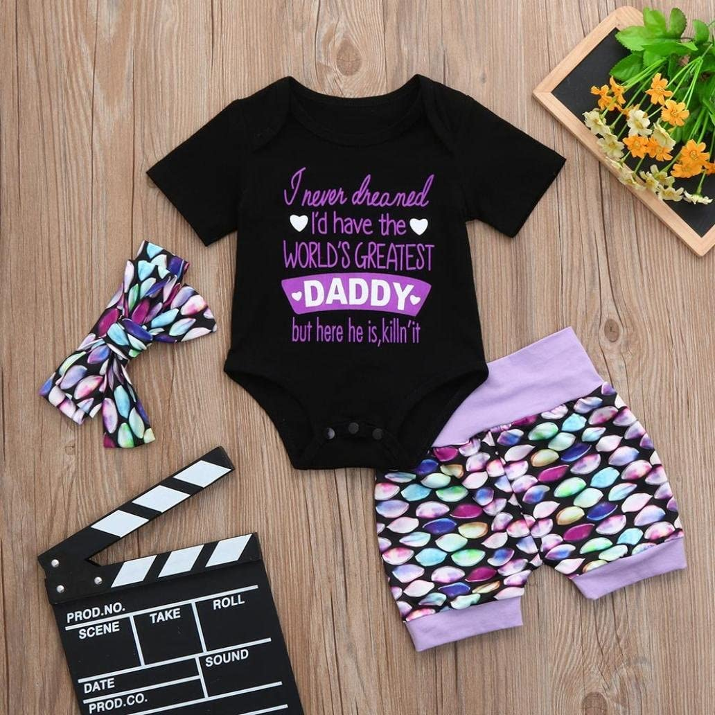 Dinlong 3Pcs Infant Baby Boys Girls Clothes Set Summer Outfits Sequins Letter Print Romper+Shorts