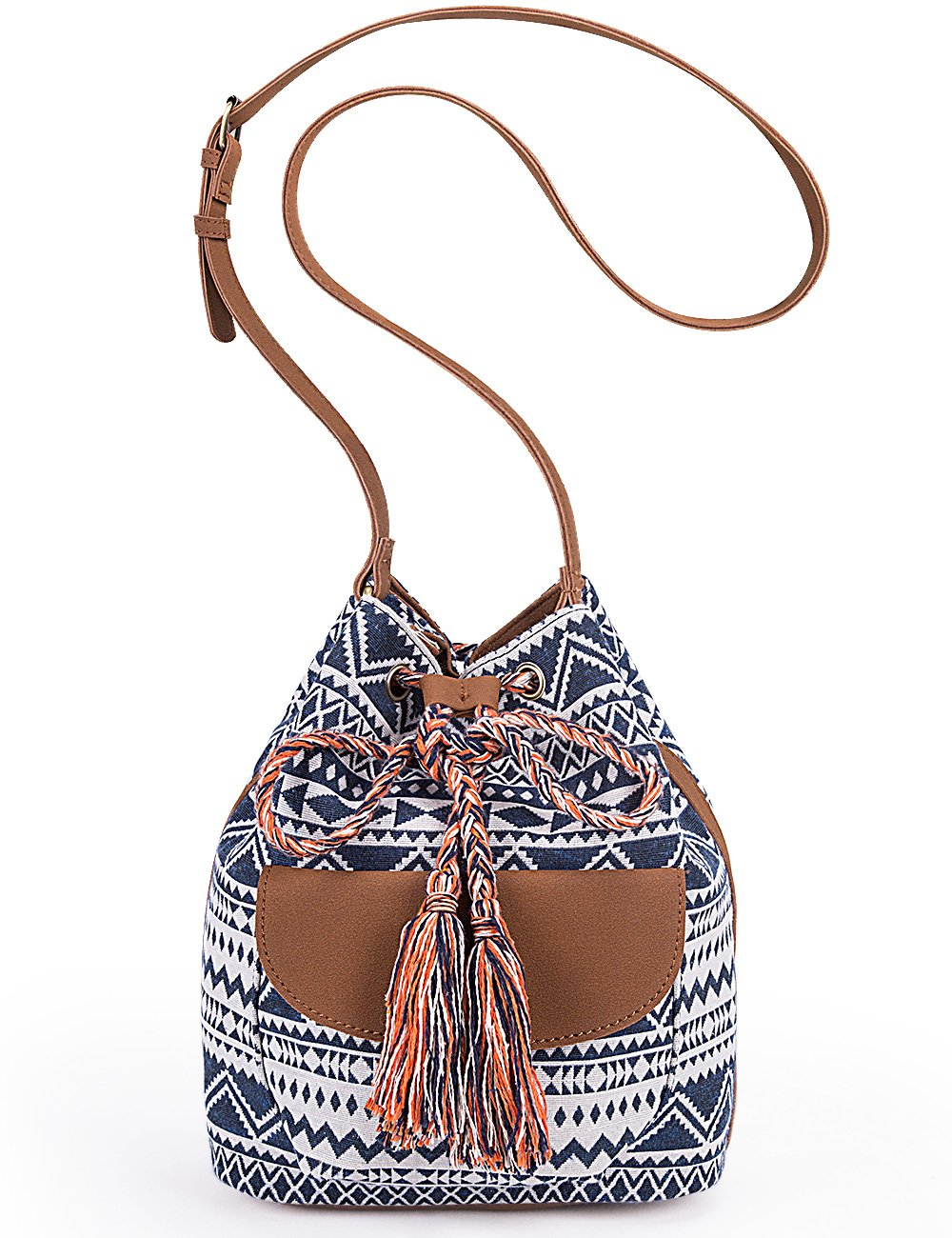 Lily Queen Drawstring Bucket Bag Small Crossbody Purse Canvas and PU (Blue)