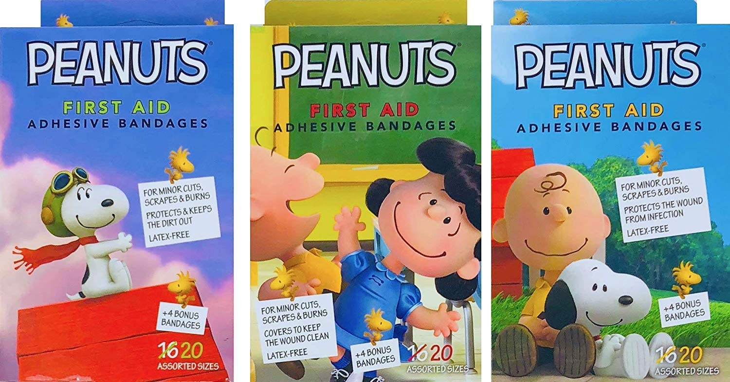 Lucy Snoopy Peanuts 3-Pack Adhesive Bandages Bandaids for Minor Cuts and Scrapes Assorted Designs Charlie Brown