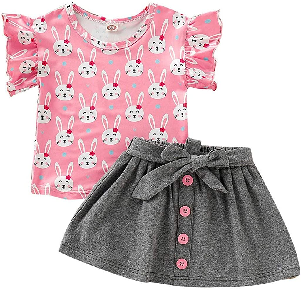 Kehen Newborn Infant Baby Girls Flare Dots Prit T-Shirt Tops Flower Shorts 2pcs Summer Clothes Sets