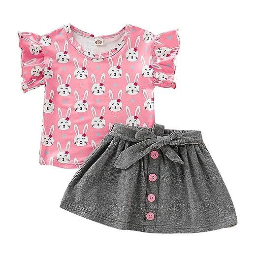 a8f7326917 Baby Skirts Sets,Fineser Children Kids Girls Short Ruffles Sleeve Cartoon  Rabbit T-Shirt