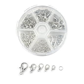 鉄製 カニカン/マルカン 各70個 アクセサリー 留め具 5サイズ シルバー ネックレス ブレスレット ハンドメイド