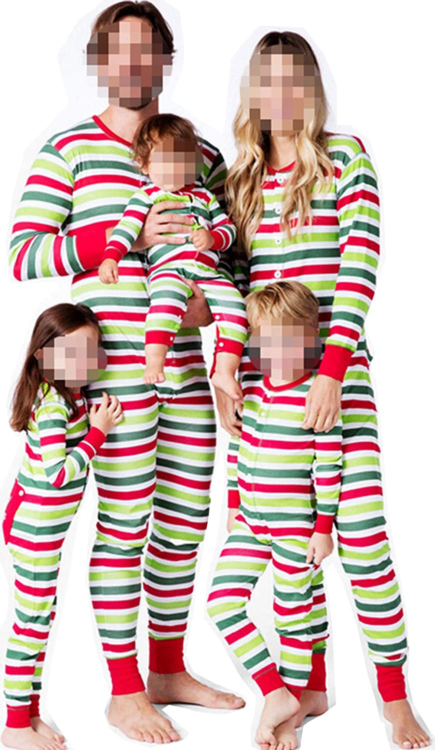 TUSFTAY Holiday Christmas Family Matching Striped Onesie Pajamas Button Xmas PJs