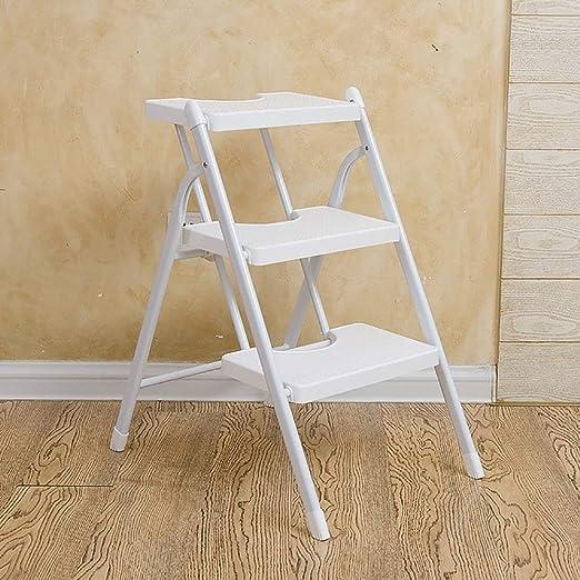 YXCUIDP Taburetes escalera multifunción White Heavy Duty 2/3 Step Stool Taburete plegable Escalera con peldaño Seguridad antideslizante Taburete de cocina Jardín DIY Escaleras de seguridad for el hoga: Amazon.es: Hogar