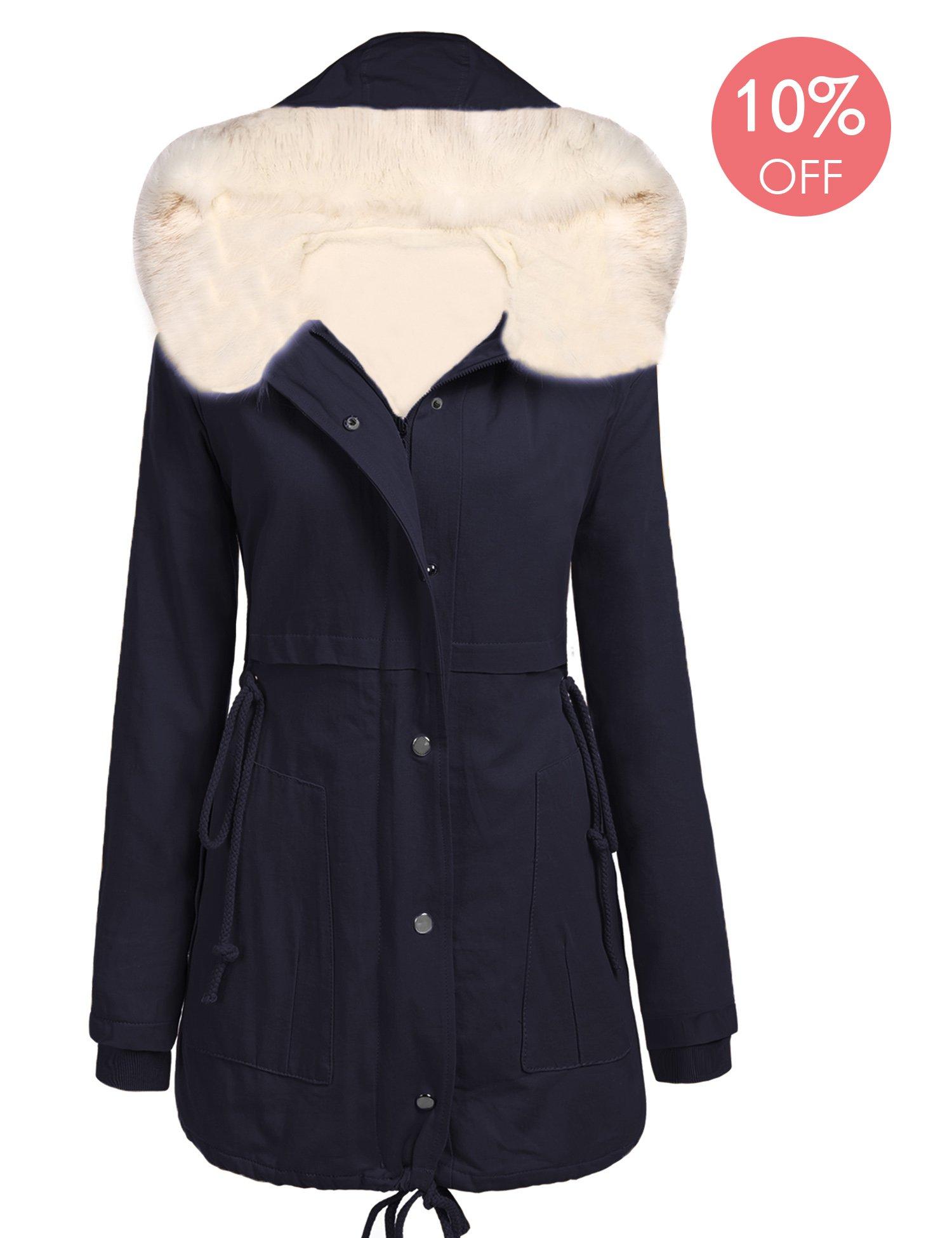 Beyove Womens Plus Size Safari Warm Hooded Military Parka Jacket Coat, Dark Blue, Medium