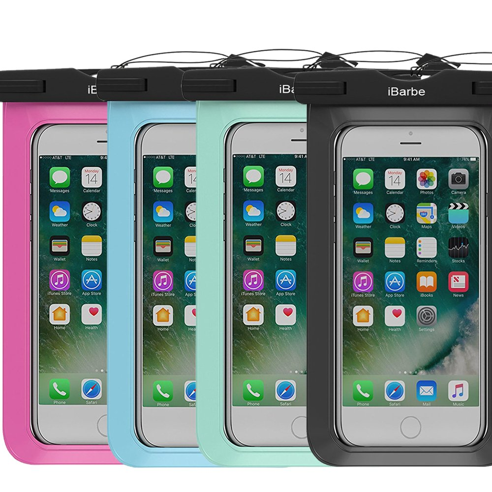 4 Pack Waterproof Case,iBarbe Universal Cell Phone Plasic TPU Dry Bag for iPhone 7 7 plus 6S 6/6S Plus 5/S/SE 5C samsung galaxy Note 5 s8 s8 plus S 8 S7 S6 Edge s5 etc.to 5.7 inch,Black+Blue+Rose+Tear