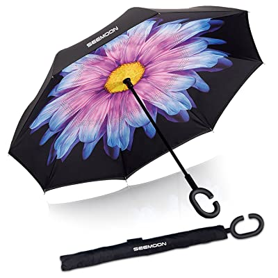 Automatic Inverted Umbrella - SEEMOON Double Layer Big Straight Inside Outside Windproof UV Protection Self Standing Reverse Folding Umbrella With Hands Free C-Shaped Handle for Car
