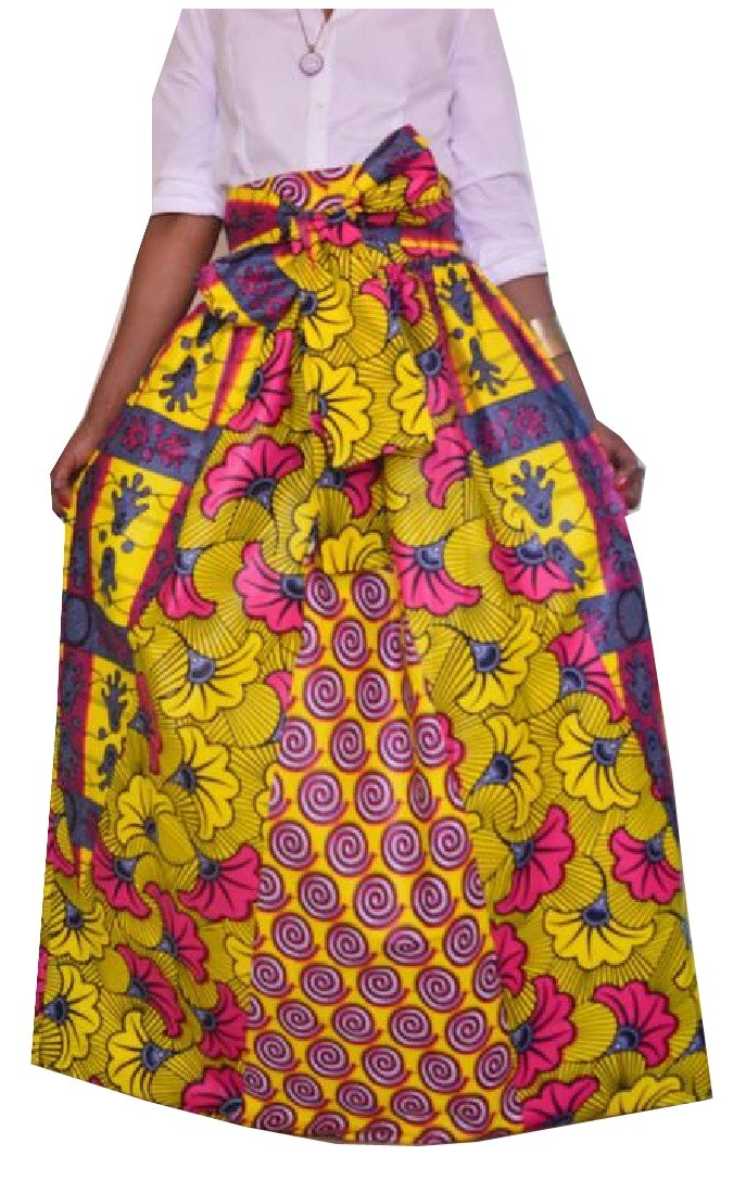 Comfy Women's African Print Dashiki Casual High Waist Maxi Skirt AS1 L