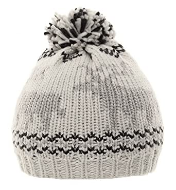 1abb608e09a Hawkins chunky knit bobble beanie hat with reindeer design - Grey ...