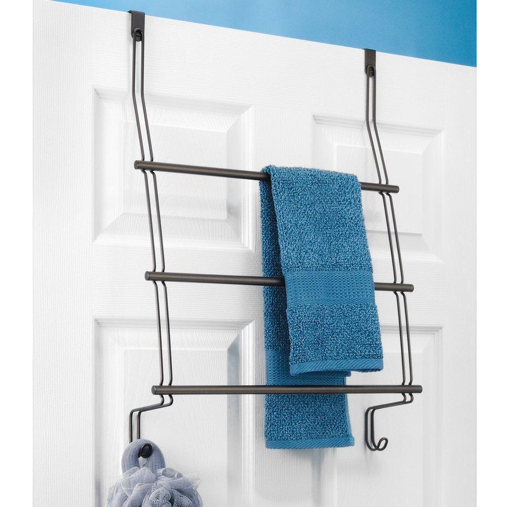 Amazon.com: InterDesign Classico Over the Door Towel Rack with Hooks ...
