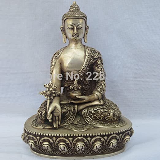 China old Antiques Tibetan silver hand carved Buddha statue