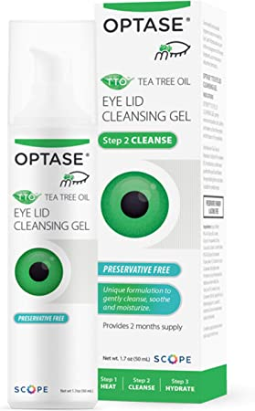 OPTASE TTO Eye Lid Cleansing Gel - Tea Tree Oil Eyelid Cleanser for Dry Eye Relief - Preservative Free, Natural Ingredients - Soothes Dry Eye and Eyelid Irritation - Made with Pro-Vitamin B5-1.7 oz