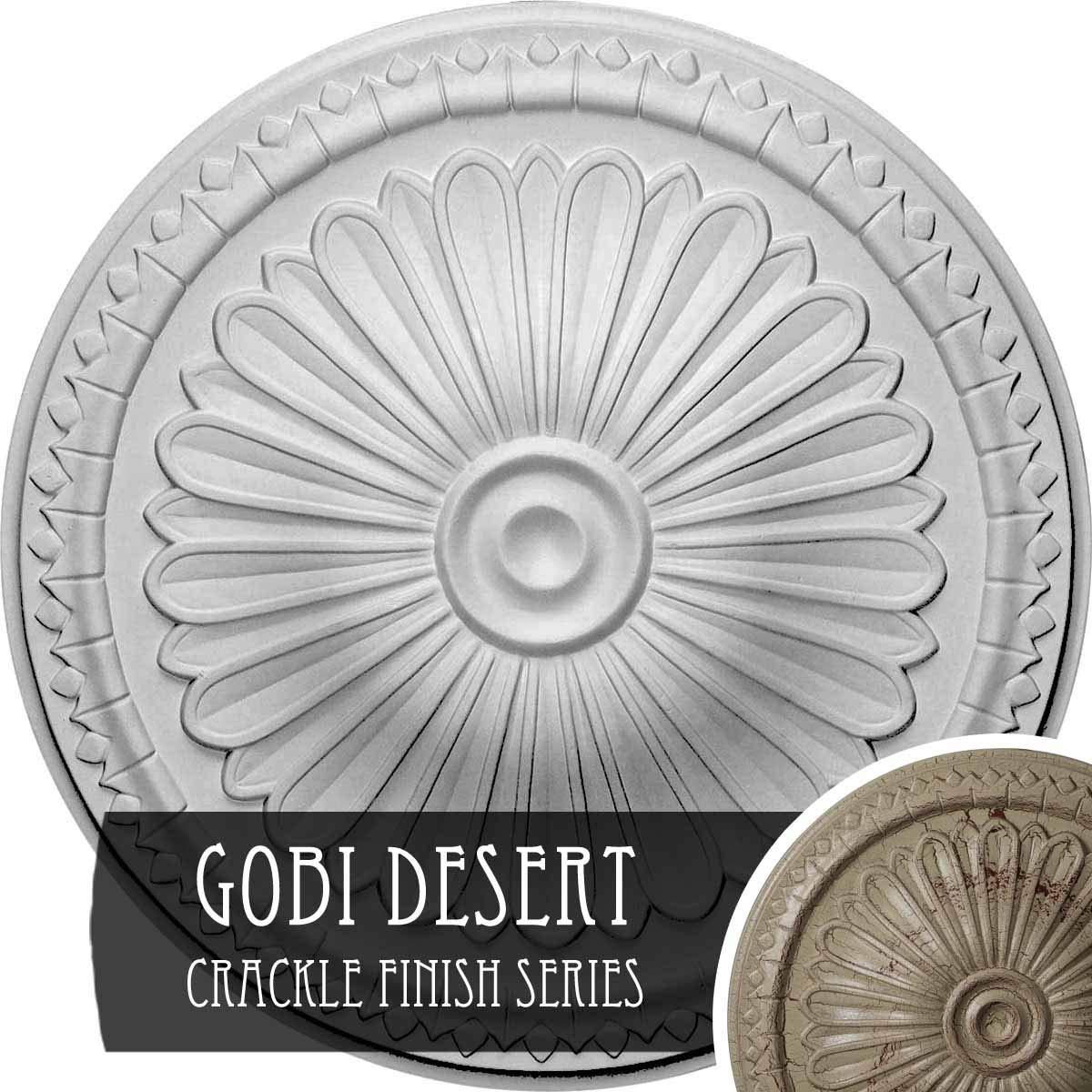 Ekena Millwork CM14AXGDC 15'' Od X 1 3/4'' P Alexa (fits Canopies up to 3''), Hand-Painted Ceiling Medallion, Gobi Desert Crackle