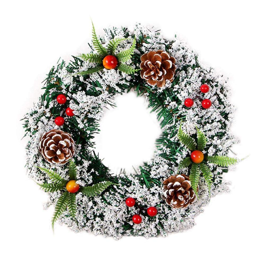 Spruce Christmas Wreath Garland Artificial Wreath Xmas Tree Decoration Wedding Celebration Ornament with Snow, Bristles, Pine Cones, Red Berries cheerfulus
