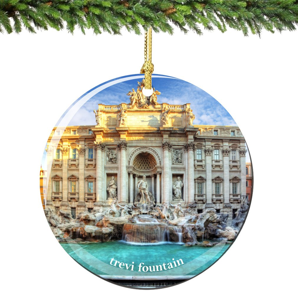rome trevi fountain christmas ornament porcelain 275 inch double sided italian christmas ornament double sided - Italian Christmas Ornaments