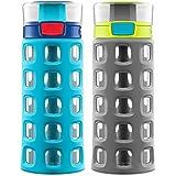 Set of two 16-oz Ello Dash Kids' Water Bottles in Grey/Blue