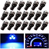 YITAMOTOR 20X T5 3-SMD Dash Gauge Instrument Side Blue LED Bulbs Light 74 17 18 37