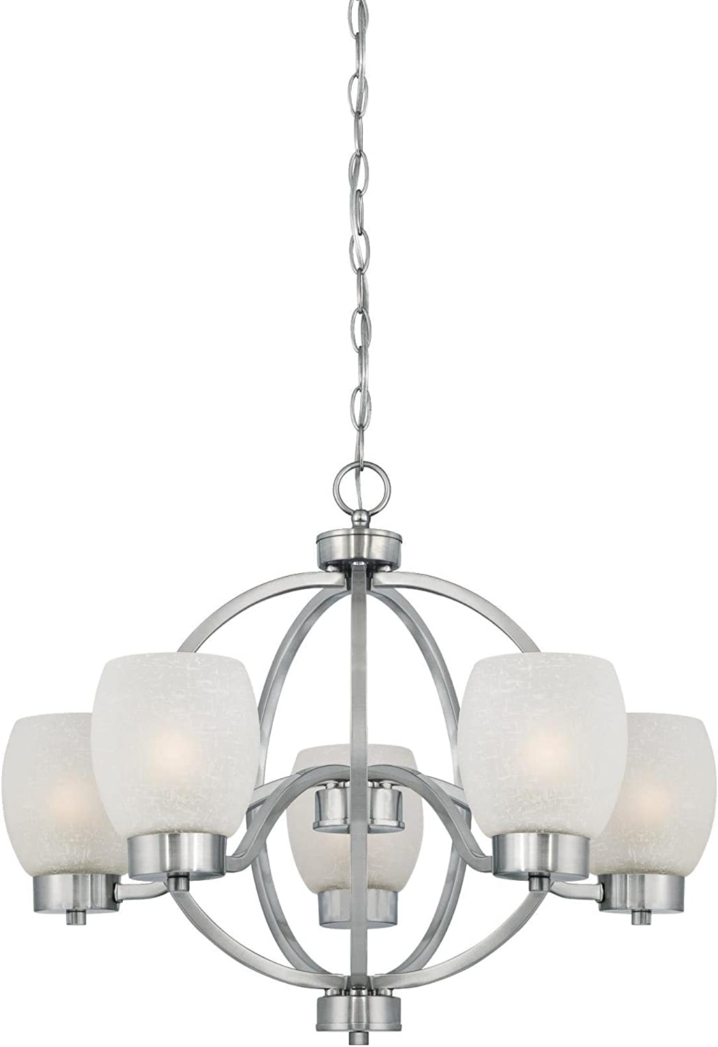 Westinghouse Lighting 6341200 Karah Five-Light Indoor Chandelier, Brushed Nickel Finish with White Linen Glass