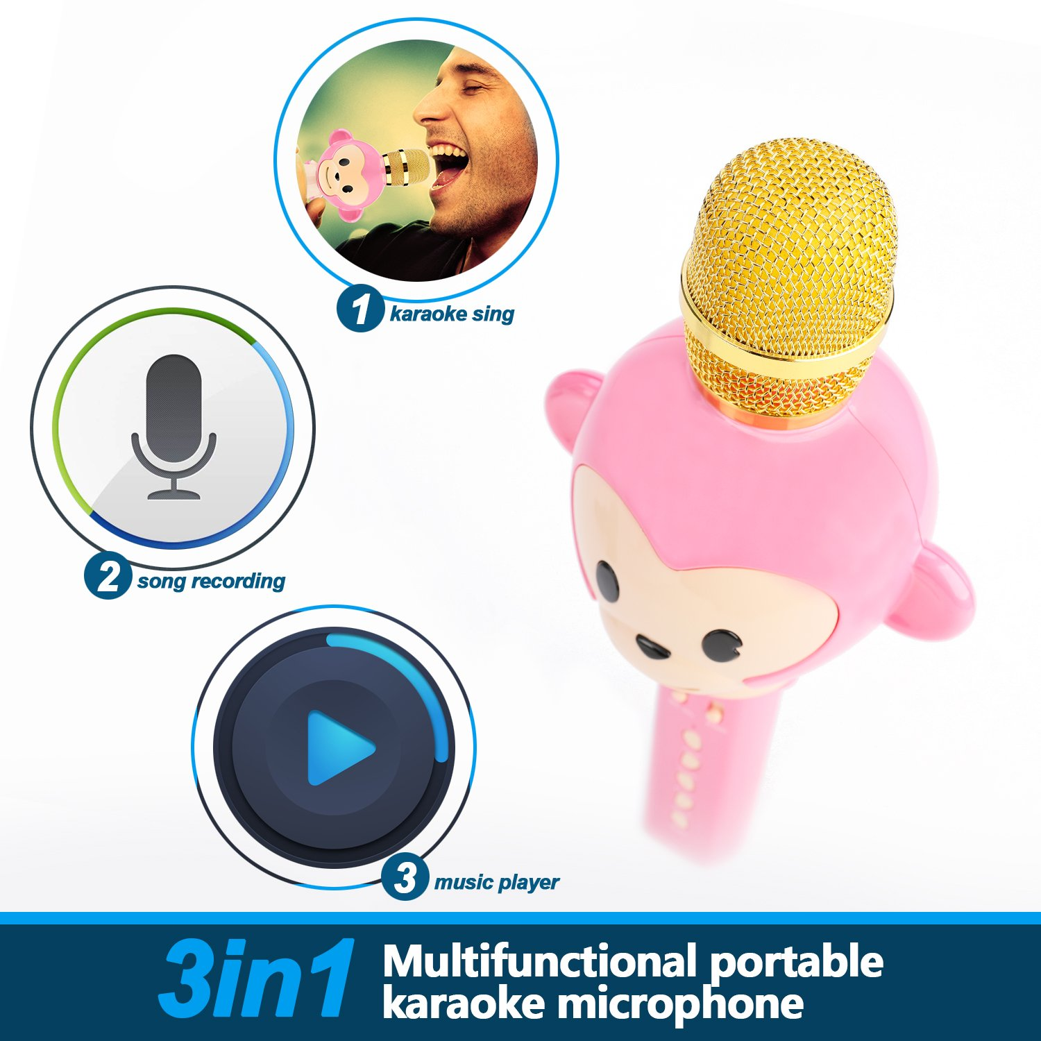Microphone for Kids Children Karaoke Microphone Bluetooth Wireless Microphone Portable Handheld Karaoke Machine Toys Gifts Singing Recording Home KTV Party iPhone Android PC Smartphone (Pink) by Seelin (Image #5)