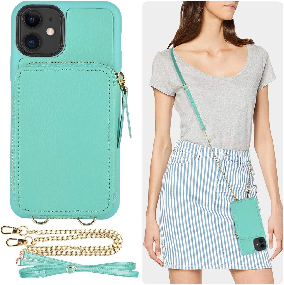 iPhone 11 Wallet Case, ZVE iPhone 11 Case with Credit Card Holder Slot Crossbody Chain Handbag Purse Protective Zipper Leather Case Cover for Apple iPhone 11 6.1 inch 2019 - Blue