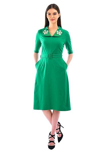 1960s Dresses: New 60s Style Dresses – Jackie O to Mod eShakti Womens Floral Embellished Collar Cotton Knit Belted Dress $54.95 AT vintagedancer.com