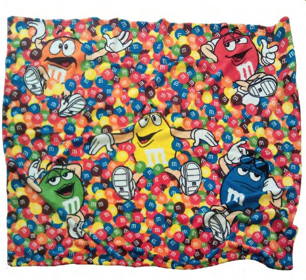 amazoncom mm's chocolate candy character faces fleece blanket  - amazoncom mm's chocolate candy character faces fleece blanket home kitchen