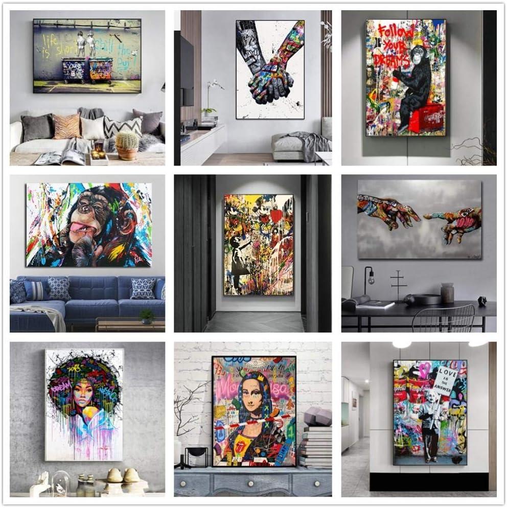 80cm Malen Nach Zahlen F/ür Erwachsene Frameless Banksy Street Graffiti Collage Monkeyliving Room Nordische Wohnkultur-60