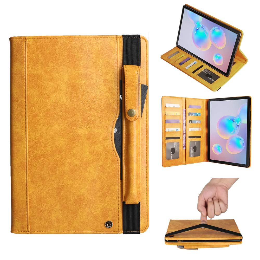 MIYA LTD Galaxy Tab S6 10.5'' Stand Case, PU Leather Stand Wallet Case with Card Slots/Pen Holder Book Style Flip Folio Protective Cover for 2019 Samsung Galaxy Tab S6 10.5 inch (Yellow) by MIYA LTD