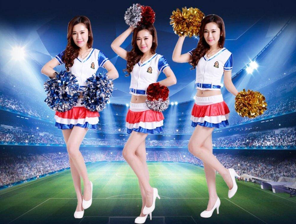 ANGTUO 2 PCS Team Sports Cheerleading Pom Poms Spiel Pom Plastikring Junggesellinnenabschied Dressing