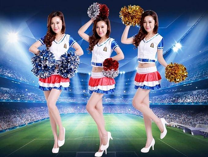 Dressing ANGULO 2 PCS Los deportes de equipo que anima Pom Pom Poms de ajuste de pl/ástico partido de gallina del Anillo Oro