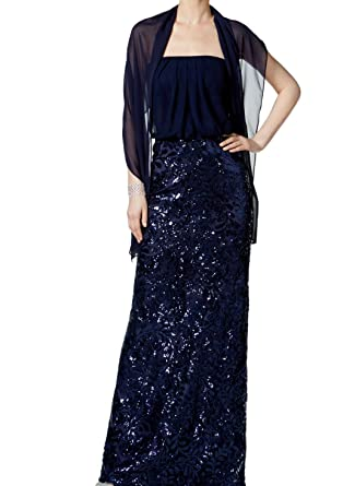 142113fa Vince Camuto Womens Sequined Strapless Evening Dress Navy 2 at ...