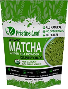 Pristine Leaf | Organic Matcha Green Tea Powder | Culinary Grade 4oz / 113grams | Great for Smoothies, Latte, Recipes, Baking, Cooking | Vegan | Calorie Free | Sugar Free | No Additives | USDA Organic
