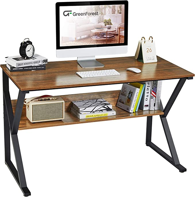 """GreenForest Computer Desk with Bookshelf 47"""" Industrial Gaming Writing Desk Space Saving Study Laptop Table Workstation for Home Office, Walnut   Amazon"""