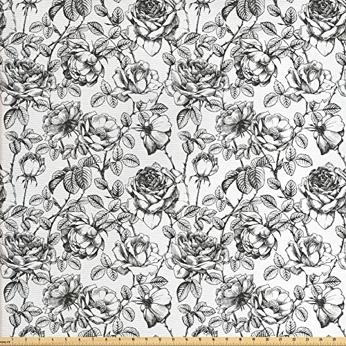 Ambesonne Floral Fabric by the Yard, Hand Drawn Rose Petals Branches Leaves Shabby Chic Fragrance Artful Illustration, Decorative Fabric for Upholstery and Home Accents, Grey White - Chic Fragrance