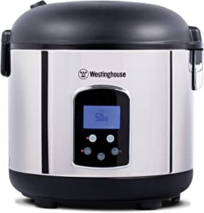 Westinghouse - WRC301S Rice Cooker, Hot Cereal Oatmeal Cooker, Food Steamer, 20 Cup, Stainless Steel and Black