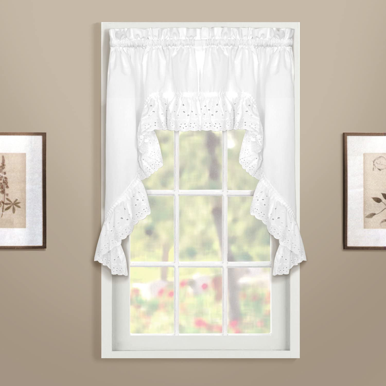 60 by 38-Inch Set of 2 Natural United Curtain Vienna Lace Swags